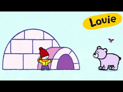 Cartoon for kids - Louie draw me an Igloo HD | Learn to draw