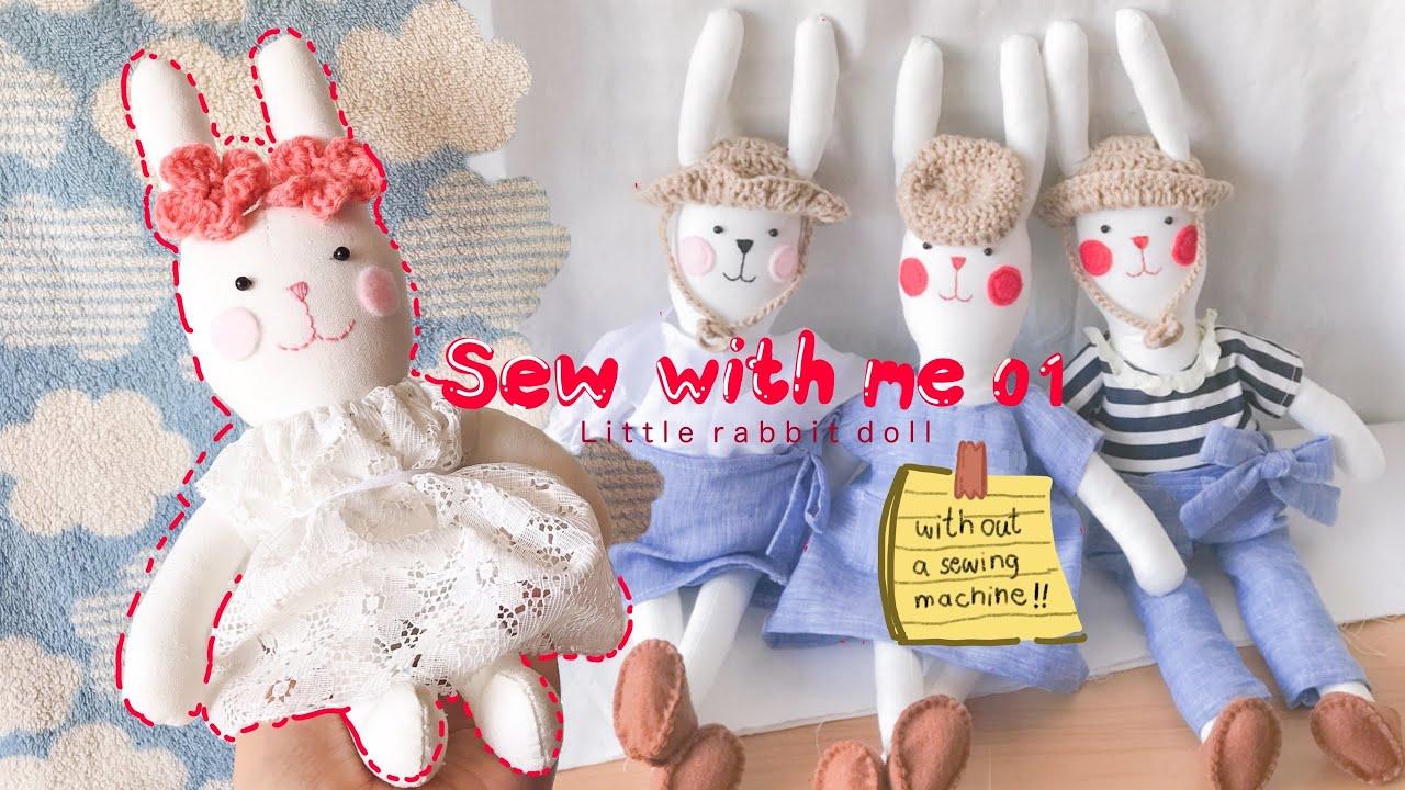 Sew with amlam : เย็บตุ๊กตากระต่ายน้อยด้วยมือ   sewing little rabbit doll (sewing by hand)