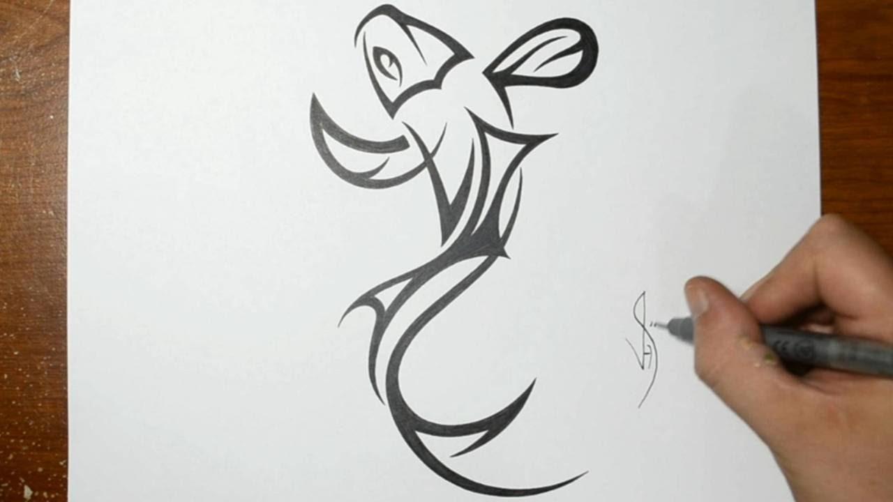 How To Draw A Tribal Koi Fish Tattoo Design Youtube