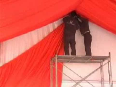 & party tent roof lining and drapery - YouTube