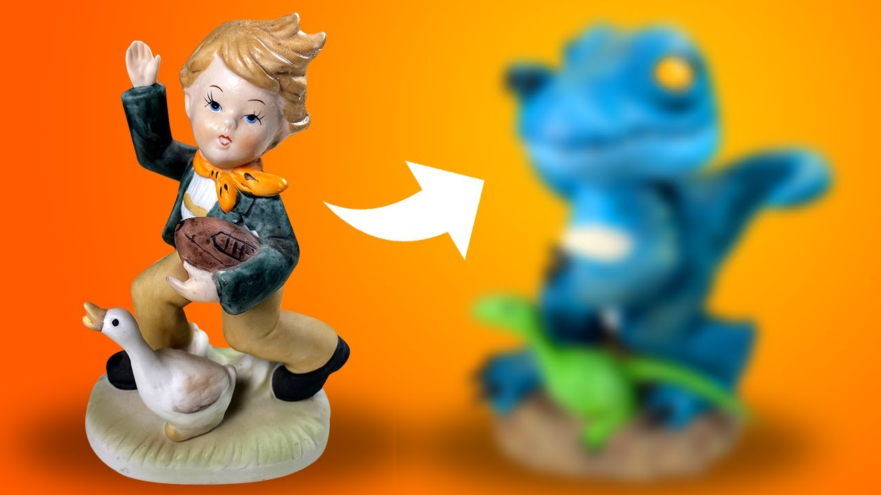 THRIFT STORE MAKEOVER! I Turned an Old Figurine into a DINOSAUR! Polymer Clay Tutorial