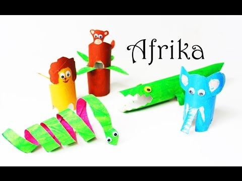 Crafts For Kids Paper Roll African Animals Elephant Snake Monkey Lion Crocodile