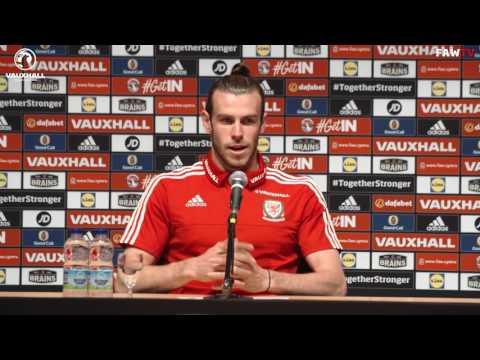 Gareth Bale speaks to the press ahead of Wales v Belgium