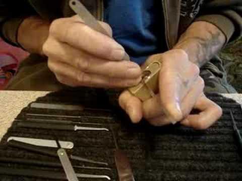 generic medium security brass padlock picked SPP