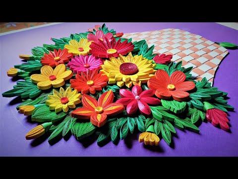 3D Quilling Flower Basket | How to make paper flower basket