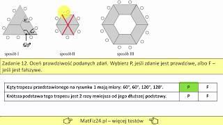 Zad 11, 12. Trójkąt równoboczny i sześciokąt foremny w zadaniu z egzaminu gim. 2019 | MatFiz24.PL