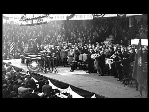 The 1932 Republican National Convention, at Chicago Stadium, in Chicago, Illinois HD Stock Footage