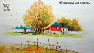 Learn How to draw and Coloring A Lovely Scenery For Beginners Step by Step