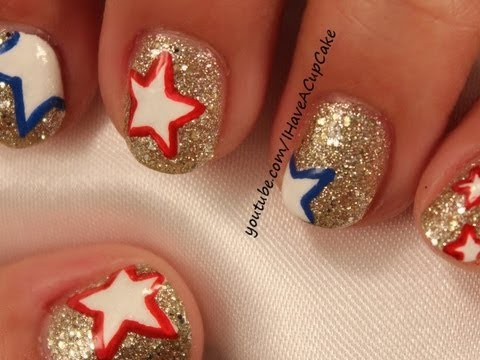 Simple Glitter and Stars Nail Art - Simple Glitter And Stars Nail Art - YouTube