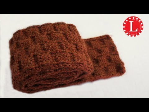 LOOM KNIT SCARF on Round Loom with Basket Weave Stitch Pattern Step by Step for Beginners   Loomahat