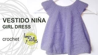 Repeat youtube video Tutorial Vestido Niña Bebé Crochet o Ganchillo Baby Girl Dress (English Subtitles)