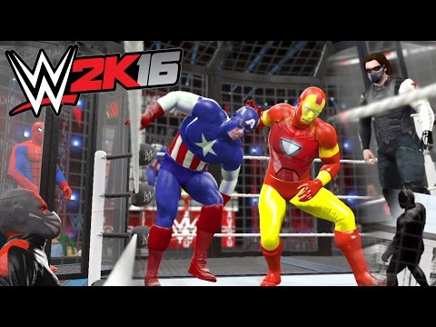 WWE 2K16 - Captain America VS Iron Man VS Winter Soldier VS Black Panther VS Ant-Man VS Spider-man