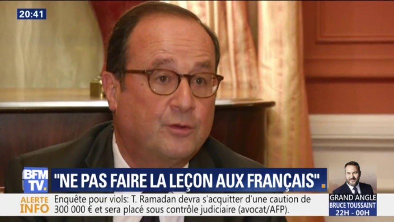 """""""Ne pas faire la leçon aux Français"""", le conseil d'Hollande à Macron"""