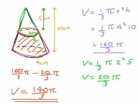 how to find volume of cone open