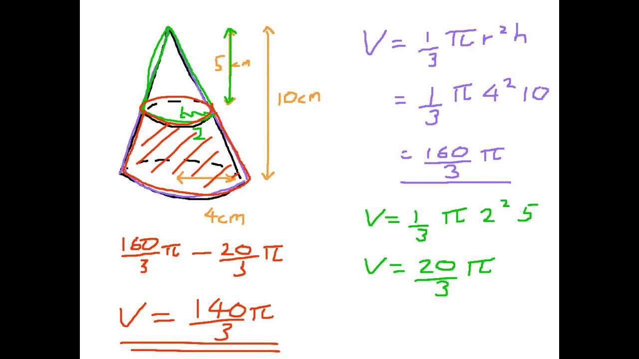 How To Find The Volume Of A Frustum From A Cone Youtube