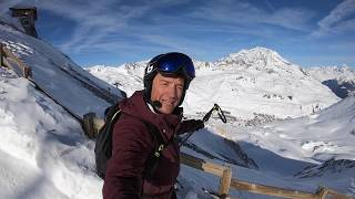 Ski Sunday's Graham Bell skis his favourite black piste in Tignes, France, the Johan Clarey