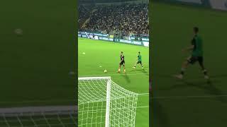 Cristiano Ronaldo riscaldamento Frosinone-Juventus