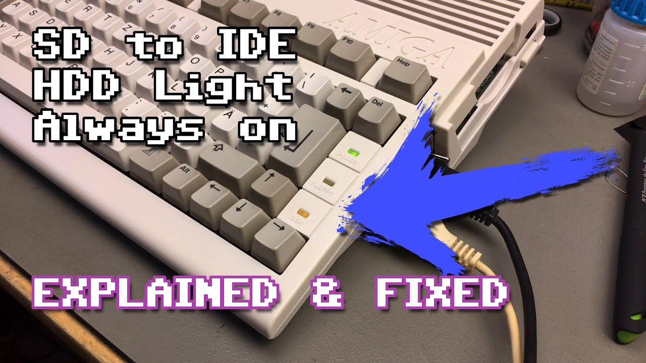 Amiga 600 SD to IDE HDD LED Always on Explanation & Fix