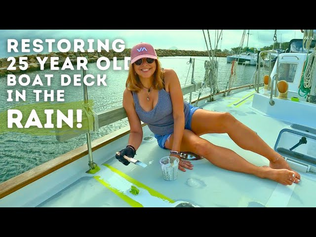 RESTORING 25 YEAR OLD BOAT DECK IN THE RAIN!