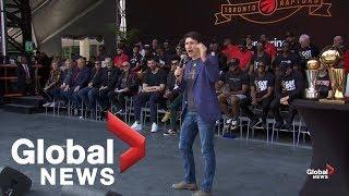 Justin  Trudeau screams himself hoarse at Toronto Raptors victory rally