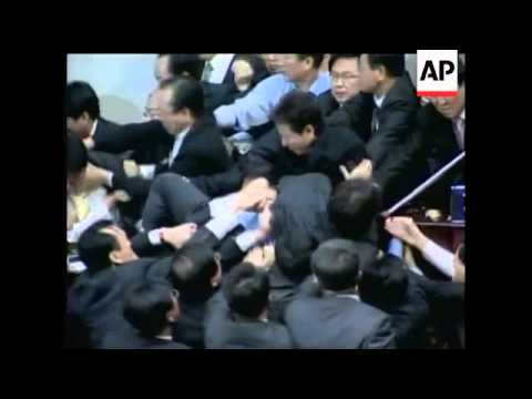 Scuffles broke out between lawmakers in South Korea's National Assembly on Friday as the two main pa