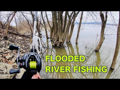 Winter Fishing A FLOODED River -- GIANT MUSKIE On 3rd Cast!!!