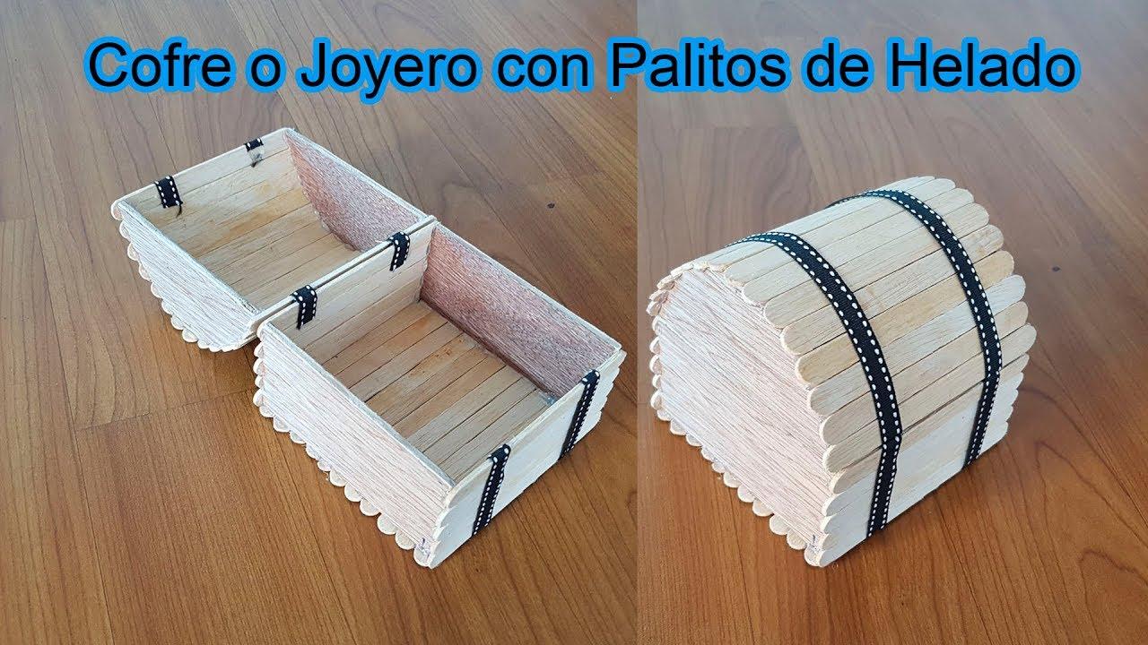 Manualidades cofre o joyero con palitos de helado palos - Como hacer un joyero de madera ...