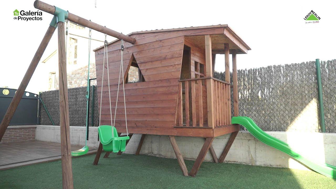 Bricomania la caseta con columpios de david en la for Casetas de madera leroy