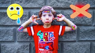 Five kids family's Boo Boo Story With Colored Wheels | Johny Johny yes sister kids song | Chiki-Piki