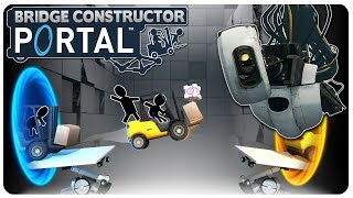 Portal m33ts Polybridge! GLaDOS Returns! | Bridge Constructor Portal Gameplay (Mobile | PC)