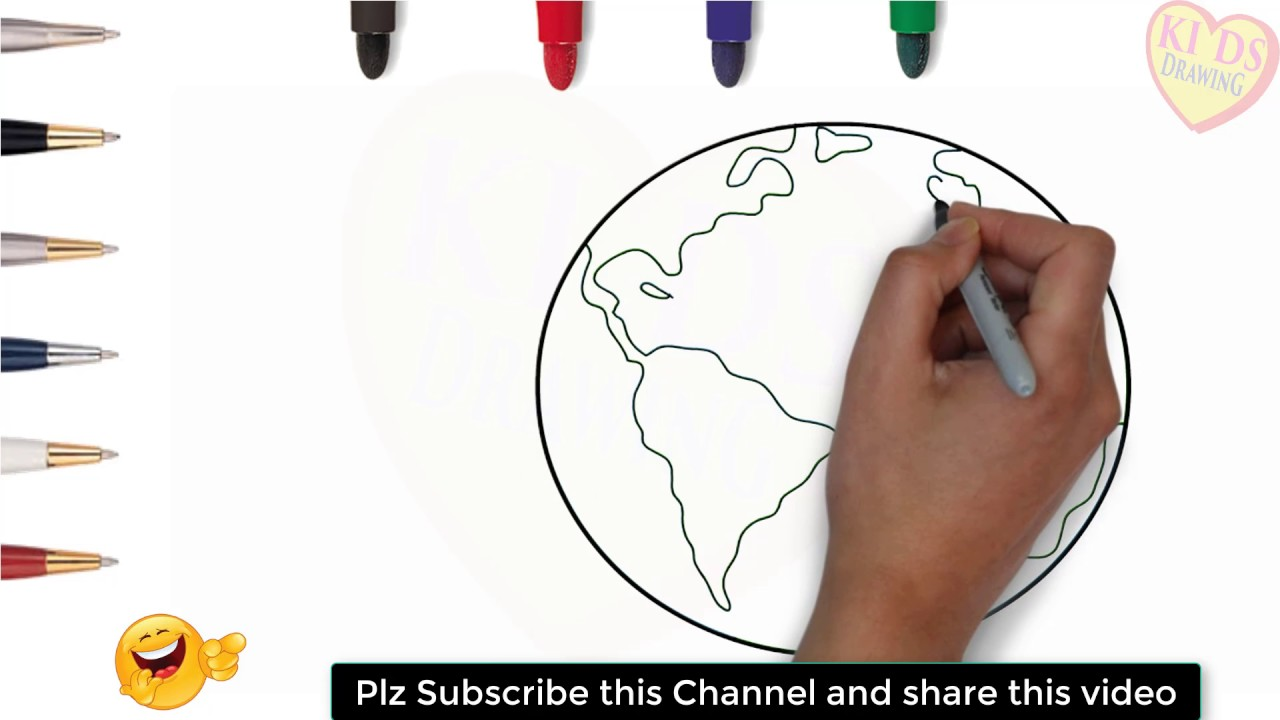 How To Draw World Map For Kids Step By Step Maps Drawing With Kids