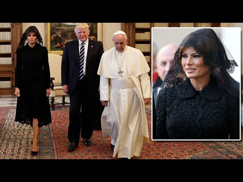 Melania Trump wears CHIC Italian black lace to  meet the Pope