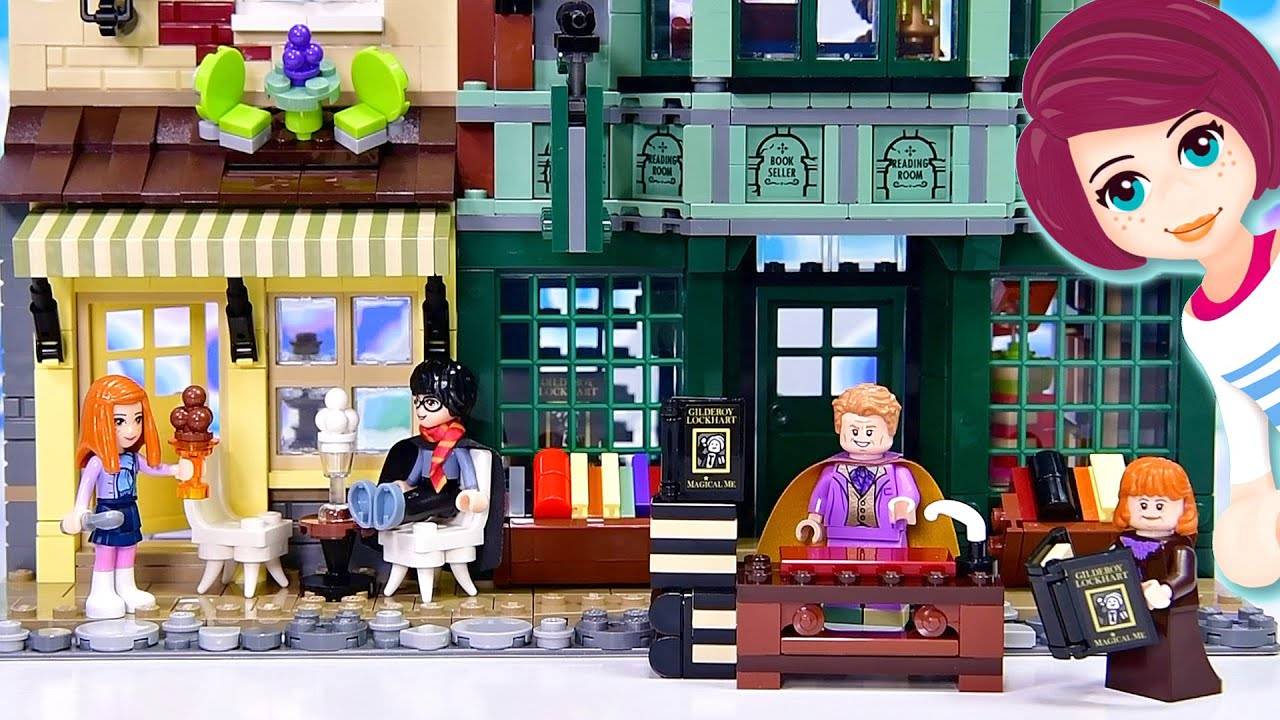 Lego Diagon Alley (is huuuuuge)! Building Flourish & Blotts and Florean Fortescue's Icecream Parlour