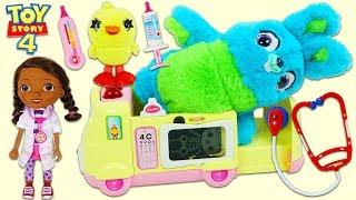 Disney Pixar Toy Story 4 Bunny Gets Sick & Visits Doc McStuffins Toy Hospital!