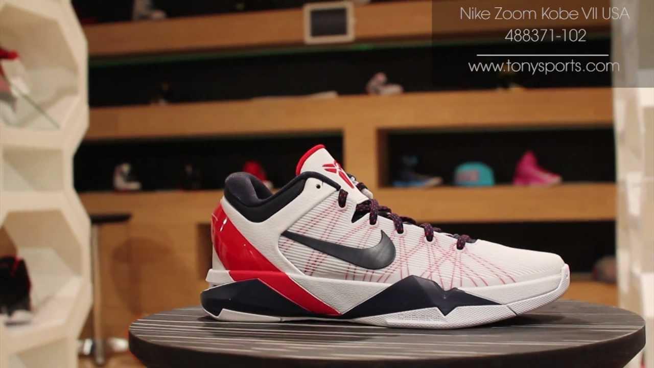 6c6f8af70b26 Nike Zoom Kobe VII System USA - White Obsidian University Red Pure Platinum  - 488371-102