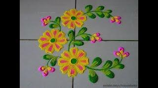 Simple yet beautiful flowers rangoli for beginners   Easy rangoli designs by Poonam Borkar