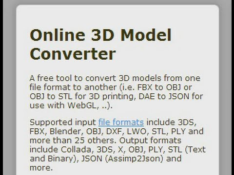 Online 3D Object Conversion Tool Walk Through