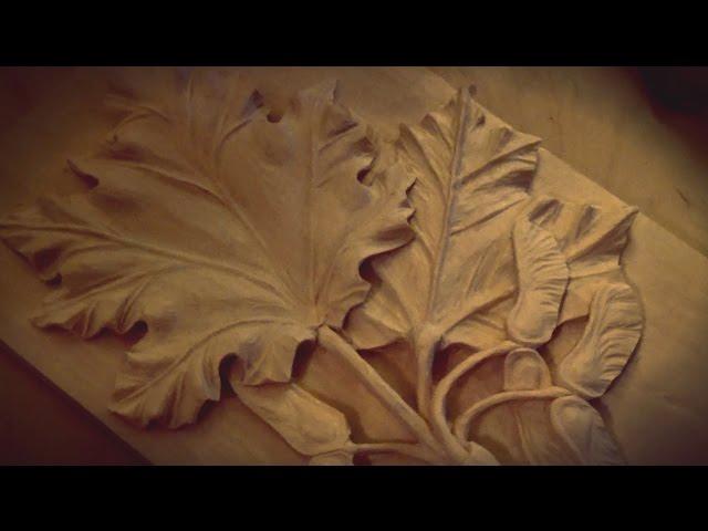 Резьба по дереву. Листья клена - 3 часть (с комментариями)