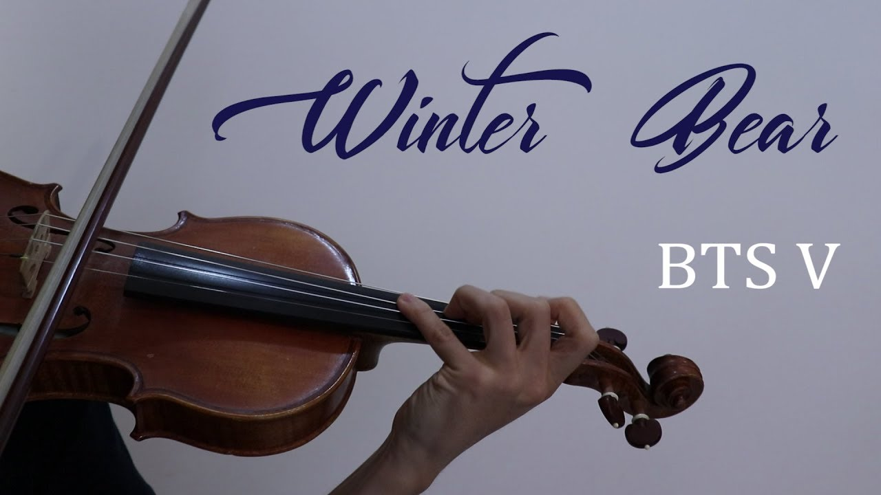 bts v winter bear violin cover with music sheet and backing track youtube