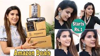 AMAZON Haul Starting Rs.1 🤫 | Collective Haul, Nails, Masks, Insta Store Jewelry | Super Style Tips