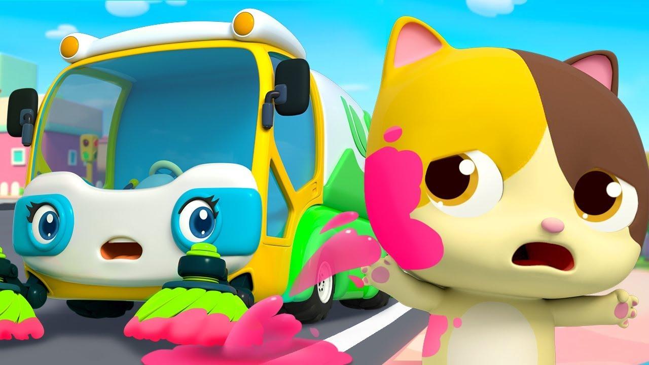 Street Sweeper's Colorful Water | Fire Truck, Police Car | Nursery Rhymes | Kids Songs | BabyBu