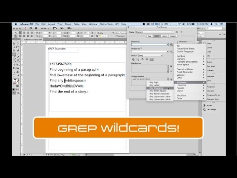 GREP in InDesign: Using Wildcards