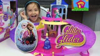 Disney Princess Magiclip Glitter Glider Dolls Castle Disney Frozen Kinder Surprise Eggs Opening Toys