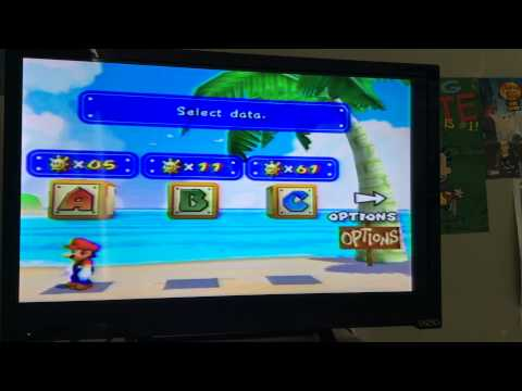 Super Mario SunShine (GameCube) Trick: How to get on top of File Select Boxes