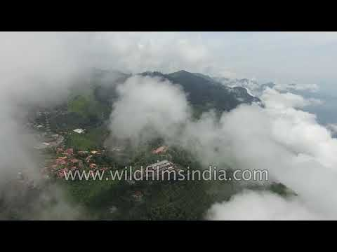 Coonoor town in the Nilgiris, covered with clouds