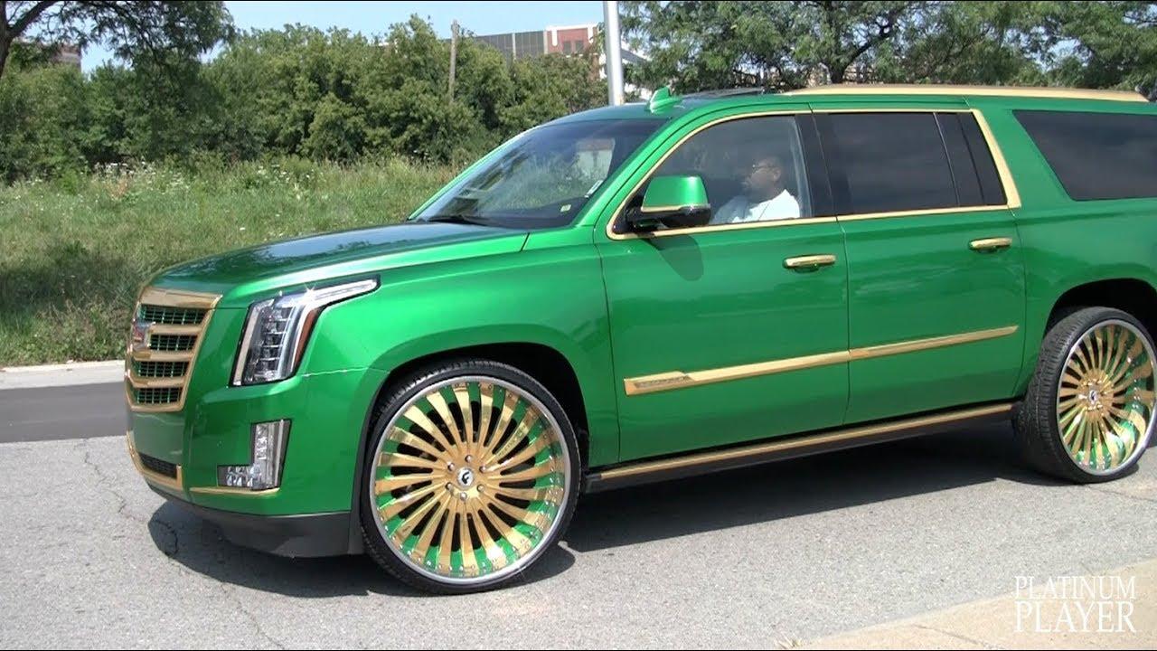 Cadillac Escalade Black Rims >> CANDY GREEN ESCALADE ESV on 30 INCH GOLD FORGIATO AUTONOMO - YouTube