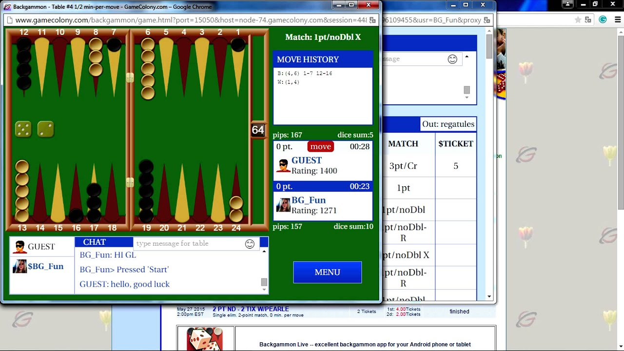 Play Backgammon at GameColony.com - on Windows or Mac or