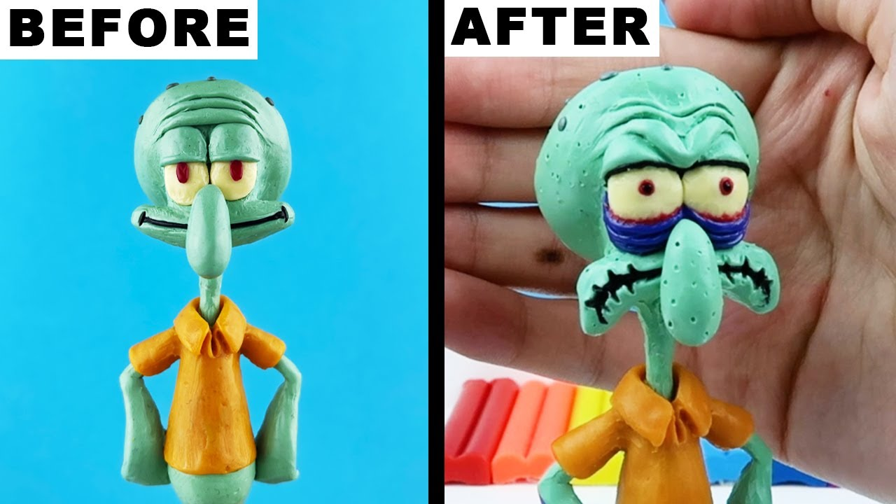 Squidward Tentacles EXE ➤ How To Make Realistic made from polymer clay sculpture. Tutorial video