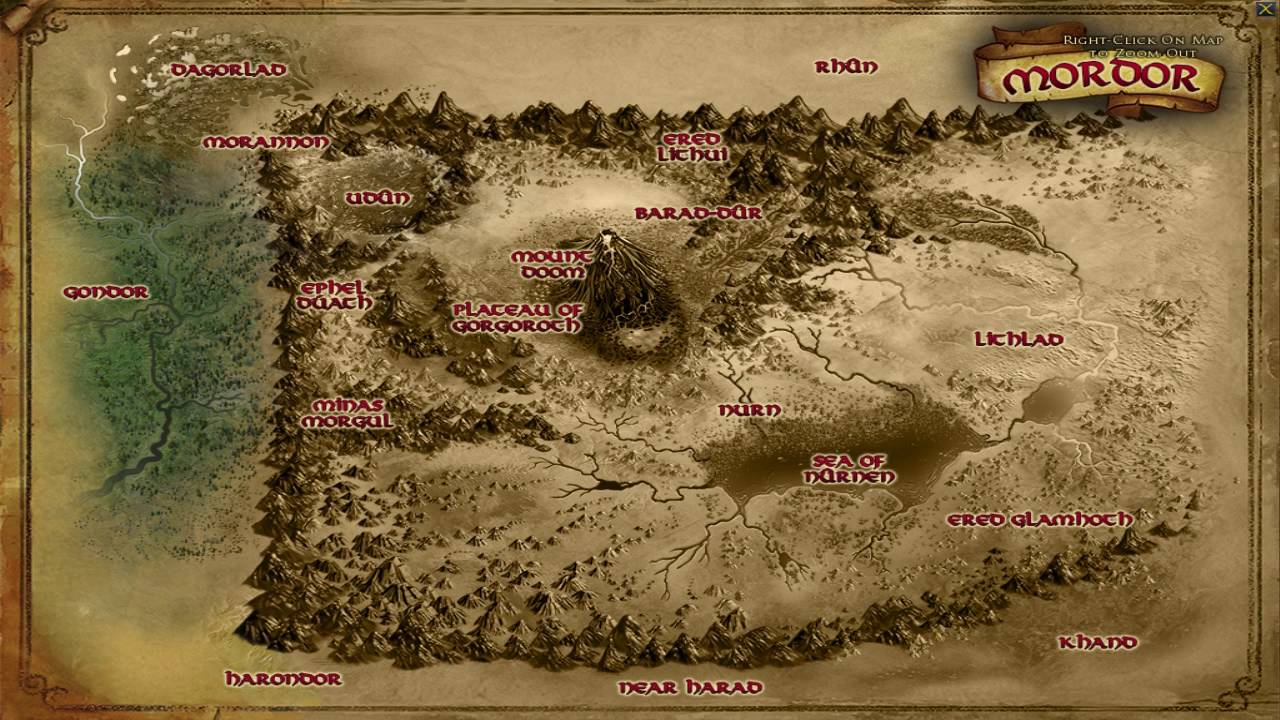 Map Of Mordor Updated Mordor Map   LOTRO Update 19 News   YouTube