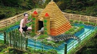 Build Swiming Pool Crocodile Around The Secret Underground House In The Deep Forest